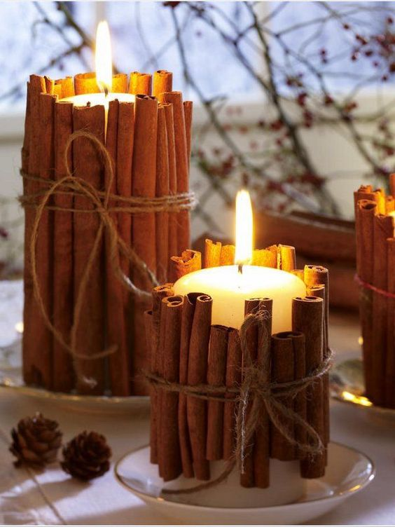 cinnamon stick candle holdersthese are the best fall craft ideas diy - Candles Home Decor