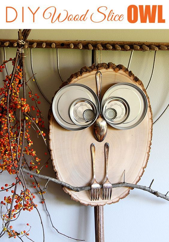 good Homemade Primitive Craft Ideas Part - 12: Wood Slice Owl...these are the BEST Fall Craft Ideas u0026 Home Decor
