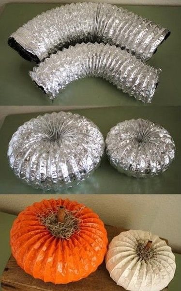 use a dryer vent to make pumpkinsthese are the best fall craft - Crafting Ideas For Home Decor