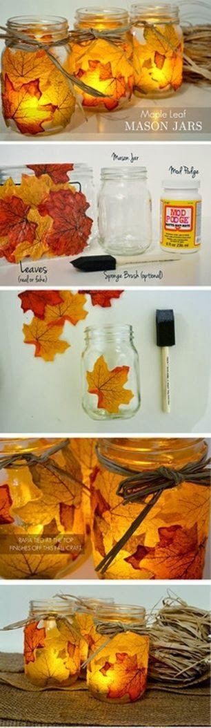 DIY Leaf Mason Jars...these are the BEST Fall Craft Ideas & DIY Home Decor!