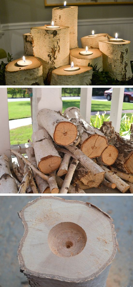 Tree Stump Candle Holders...these are the BEST Fall Craft Ideas & DIY Home Decor Projects!