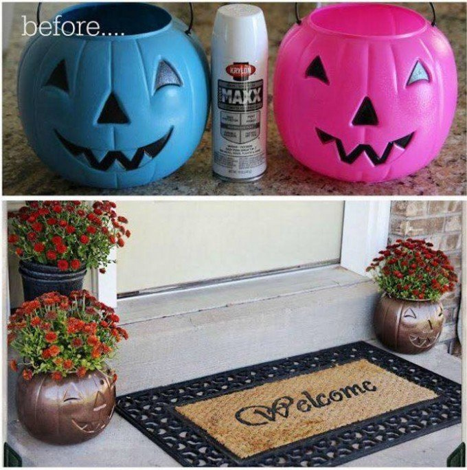Turn Plastic Pumpkins Into Outdoor Planters...these Are The BEST Fall Craft  Ideas