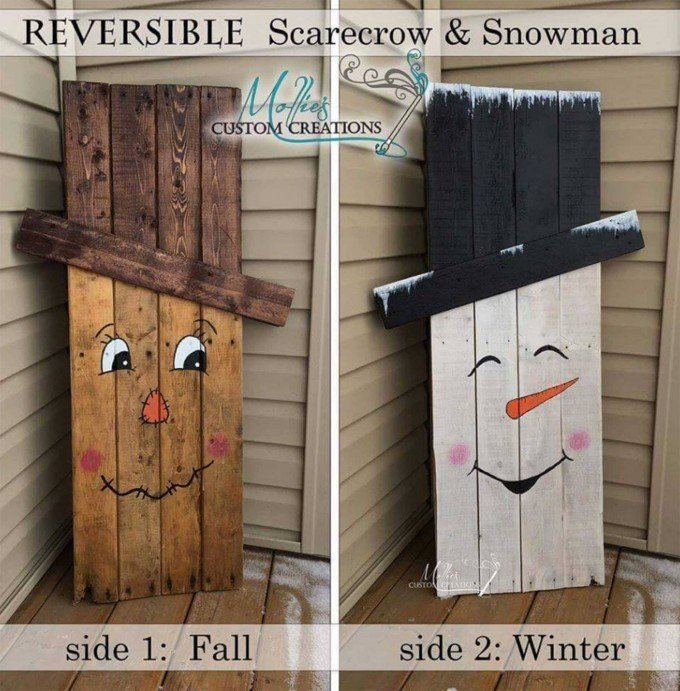 Reversible Pallet Scarcrow And Snowman ...these Are The BEST Fall Craft  Ideas U0026