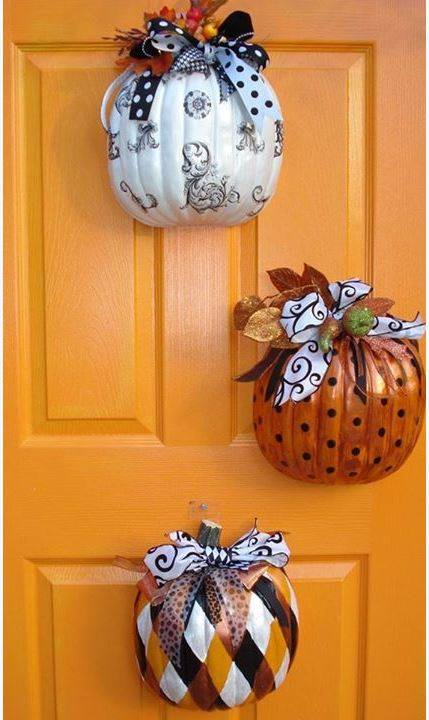 Cut Dollar Store Pumpkins In Half Decorate And Hangthese Are