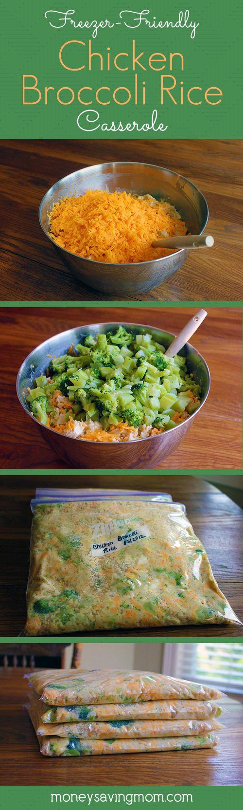 Freezer Friendly Chicken Broccoli Rice Casserole...100's of the BEST Freezer Meals!
