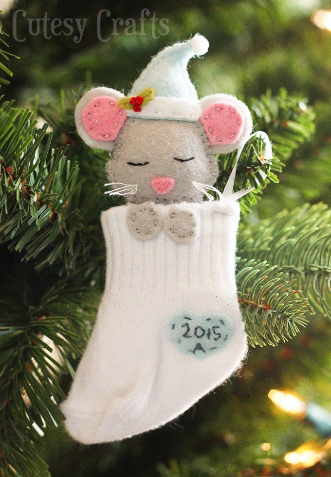 baby mouse sock stocking ornamentthese are the best diy ornament ideas - Christmas Mouse Decorations
