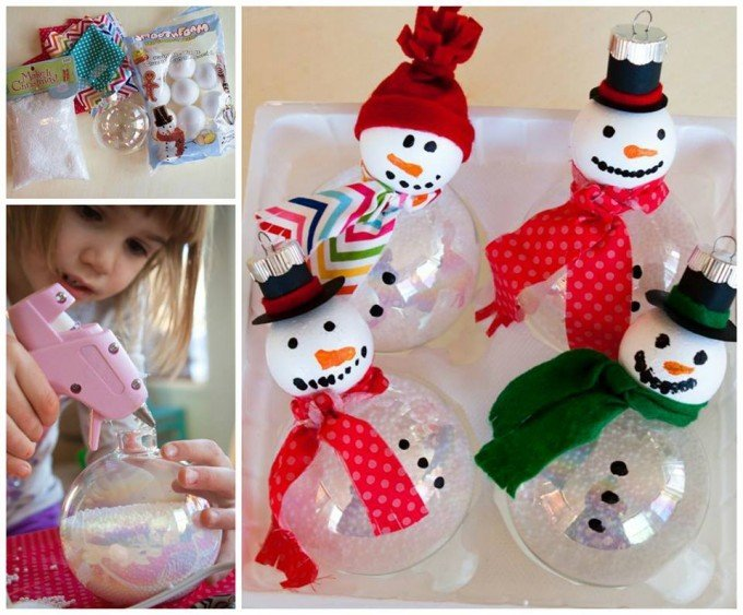 Foam Ball Snowman Ornaments...these are the BEST Homemade Christmas Ornament Ideas!