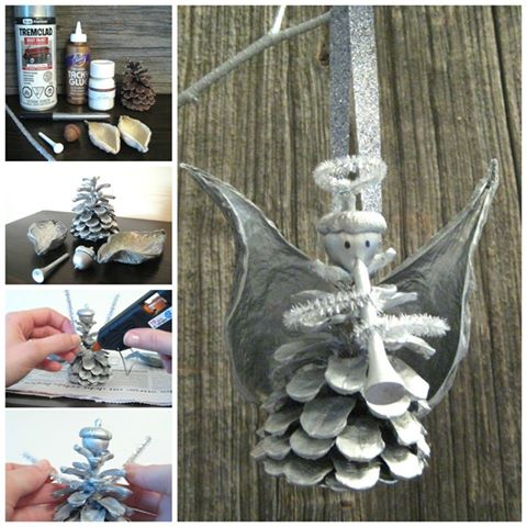 DIY Pine Cone Angel Ornaments...these are the BEST Homemade Christmas Ornament Ideas!