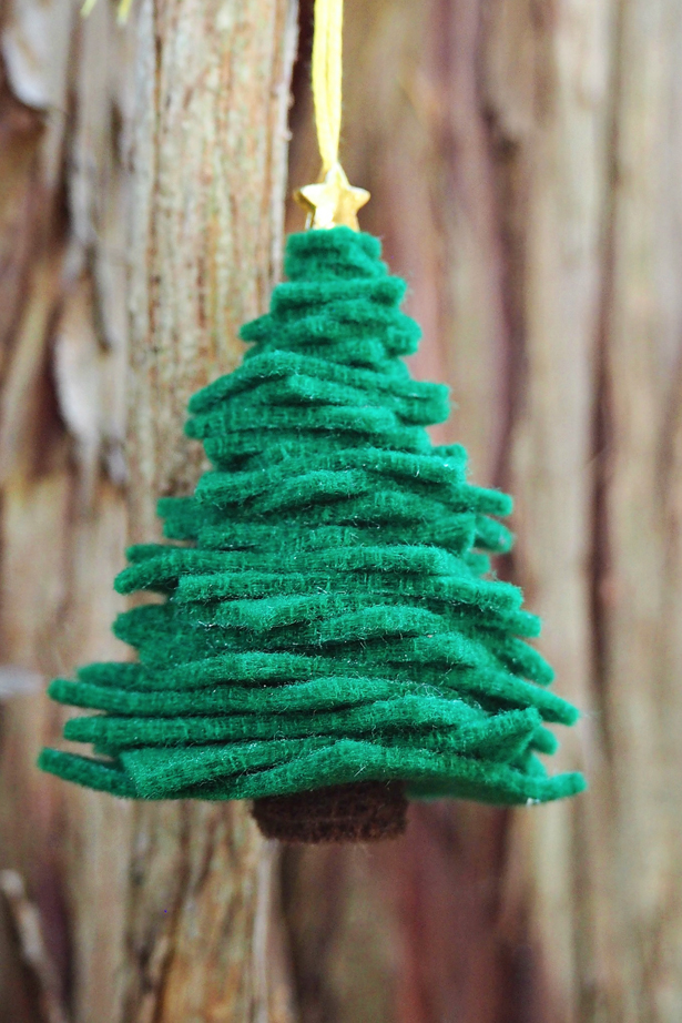 easy felt tree ornamentsthese are the best homemade christmas ornament ideas - Homemade Christmas Decorations For Kids
