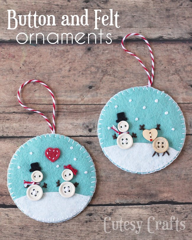 Christmas Decorations With Children Part - 35: Stunning Button U Felt Christmas Are The Best Homemade Holiday Ornament  Ideas With Christmas Decorations For Children To Make At Home.