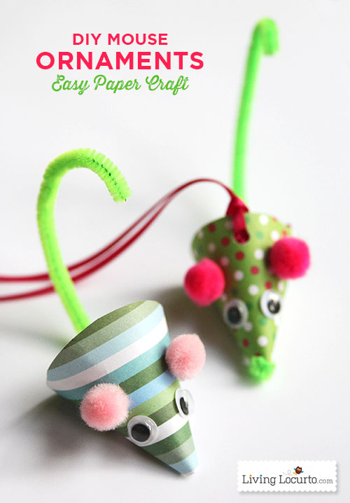 DIY Paper Mouse Christmas Ornaments...these are the BEST Homemade Holiday Ornament Ideas!