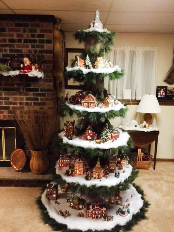 christmas village treethese are the most creative christmas tree ideas