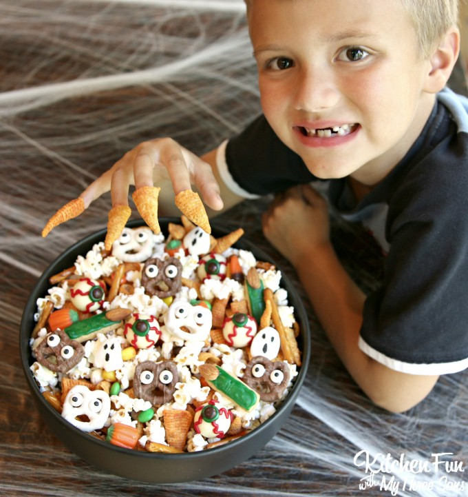 Halloween Snack Mix ....such a fun Party Mix filled with spooky snacks & terrifying treats....so fun!