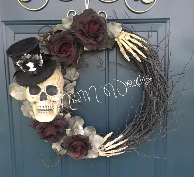 Skeleton Wreath...these are the BEST Halloween Decor ideas!