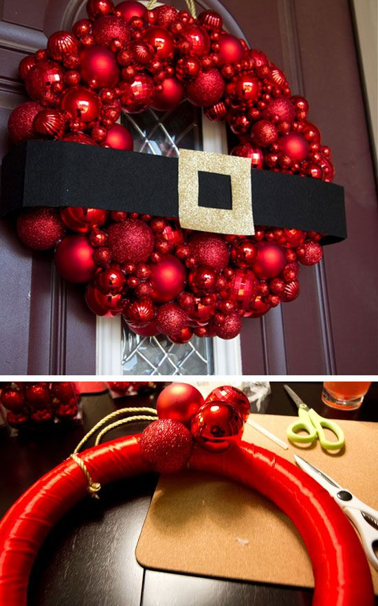 santa belt ornament wreaththese are the best diy christmas wreath ideas - Outdoor Christmas Decorations Ideas Pinterest