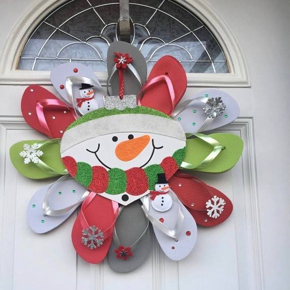 Flip Flop Snowman Wreath....these are the BEST Christmas Wreath Ideas!