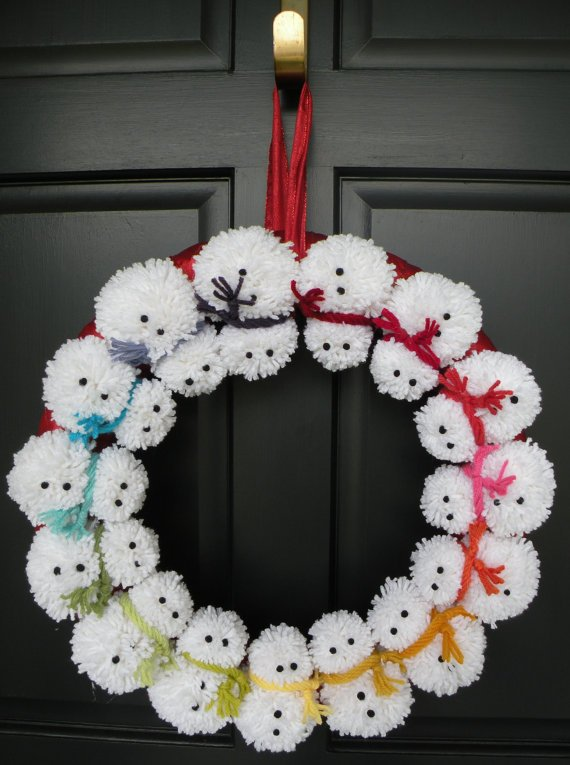 snowman pom pom wreaththese are the best christmas wreath ideas