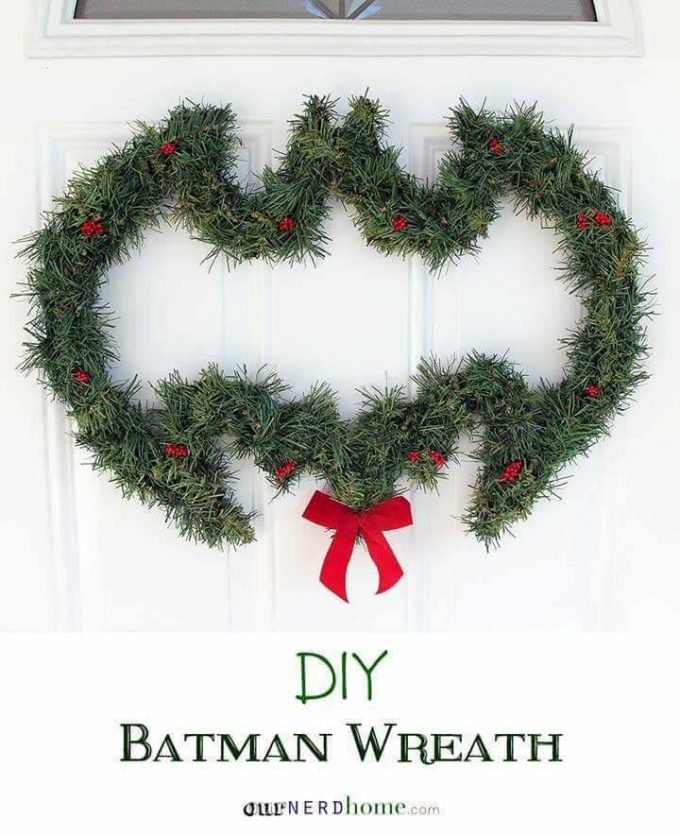 DIY Batman Wreath...these are the BEST Homemade Christmas Wreath Ideas!