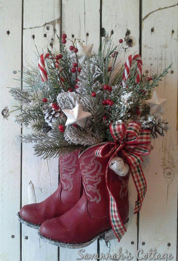 Christmas Cowboy Boot Wreath...these are the BEST DIY Holiday Wreath Ideas!