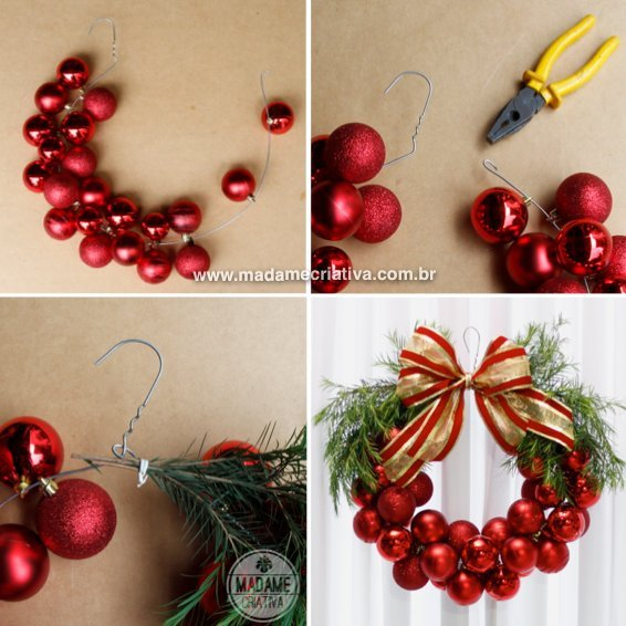use a hanger christmas balls to make a wreaththese are the