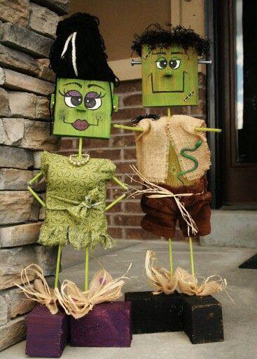 frankenstein his bride wood decorthese are the best homemade halloween decorations - Wooden Halloween Decorations