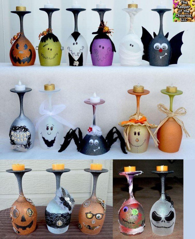 halloween wine glass candle holdersthese are the best homemade halloween decorations - Easy Homemade Halloween Decorations