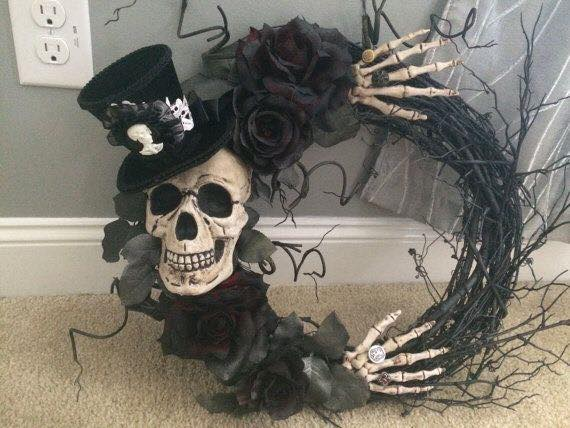 Spooky Skeleton Wreath...these are the BEST Homemade Halloween Decorations & Craft Ideas!