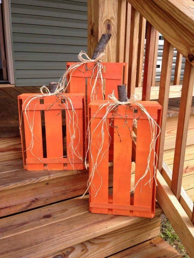 wood crate pumpkinsthese are the best homemade halloween decorations craft ideas - Wooden Halloween Decorations