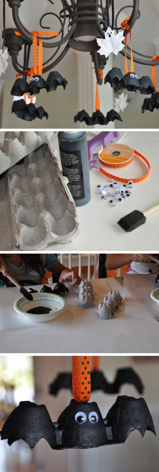 Egg Carton Bats...these are the BEST Homemade Halloween Decorations & Craft Ideas!