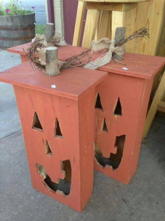 jack o lanterns made with old drawersthese are the best - Home Made Halloween Decorations