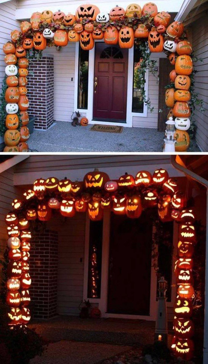 attach foam pumpkins to make this illuminated pumpkin arch for a spooky entryway - At Home Halloween Decorations