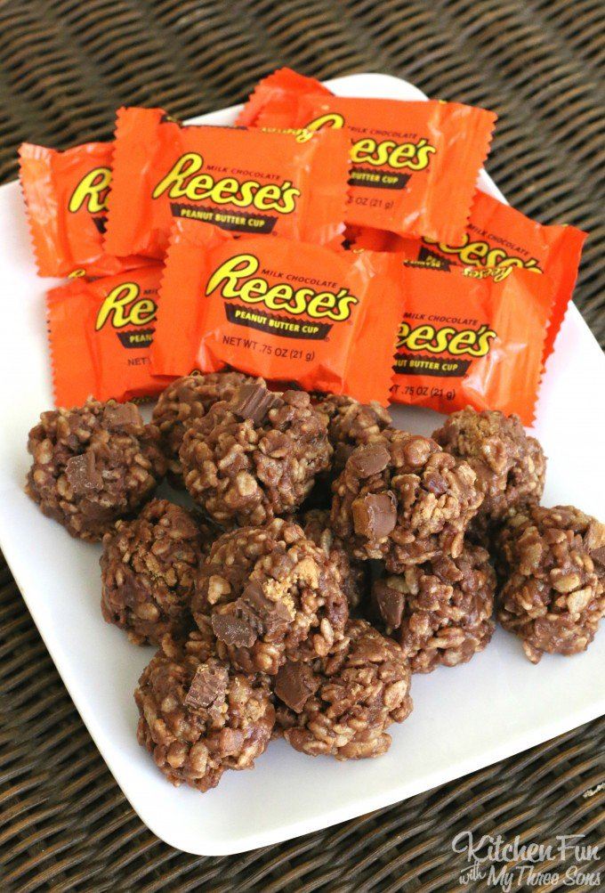 Reese's Cookies - No Bake Peanut Butter & Chocolate Rice Krispies Treats