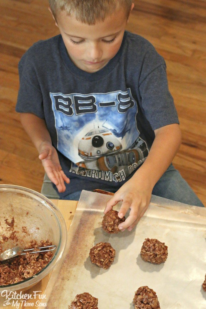 Reese's Cookies - No Bake Krispies - Kitchen Fun With My 3 Sons
