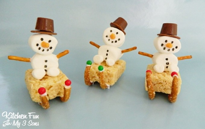 Christmas Marshmallow Snowman Sleigh Treats