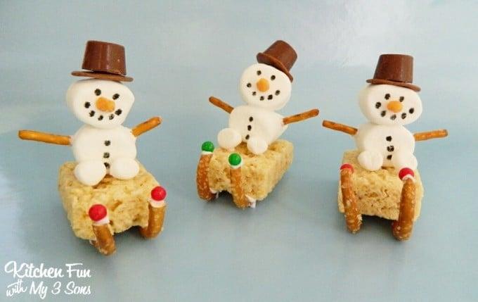 Christmas Marshmallow Snowman Sleigh Treats