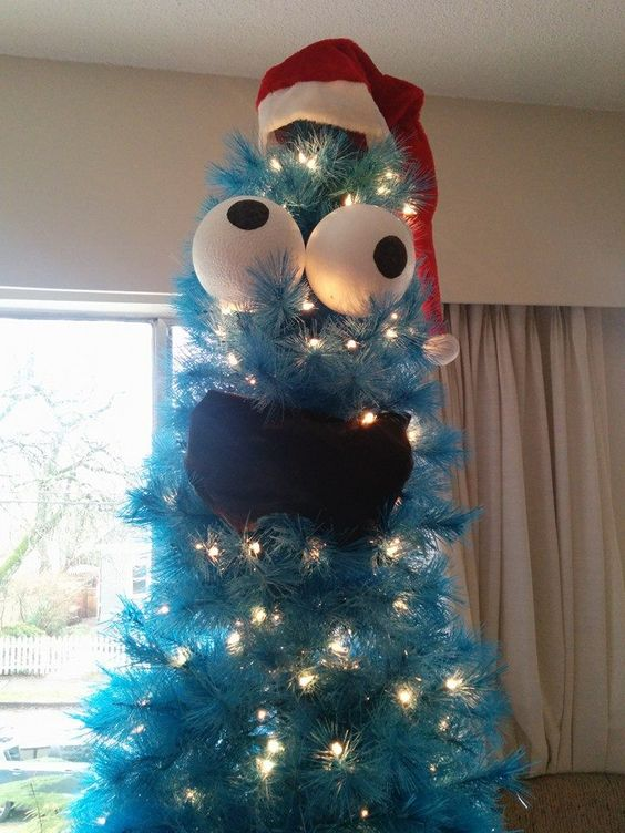 Cookie Monster Tree...these are the most Creative Christmas Trees!