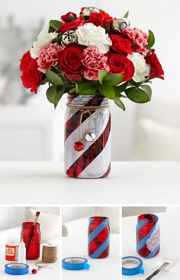 Holiday Candy Cane Jars... these are the BEST Christmas Mason Jar Ideas!