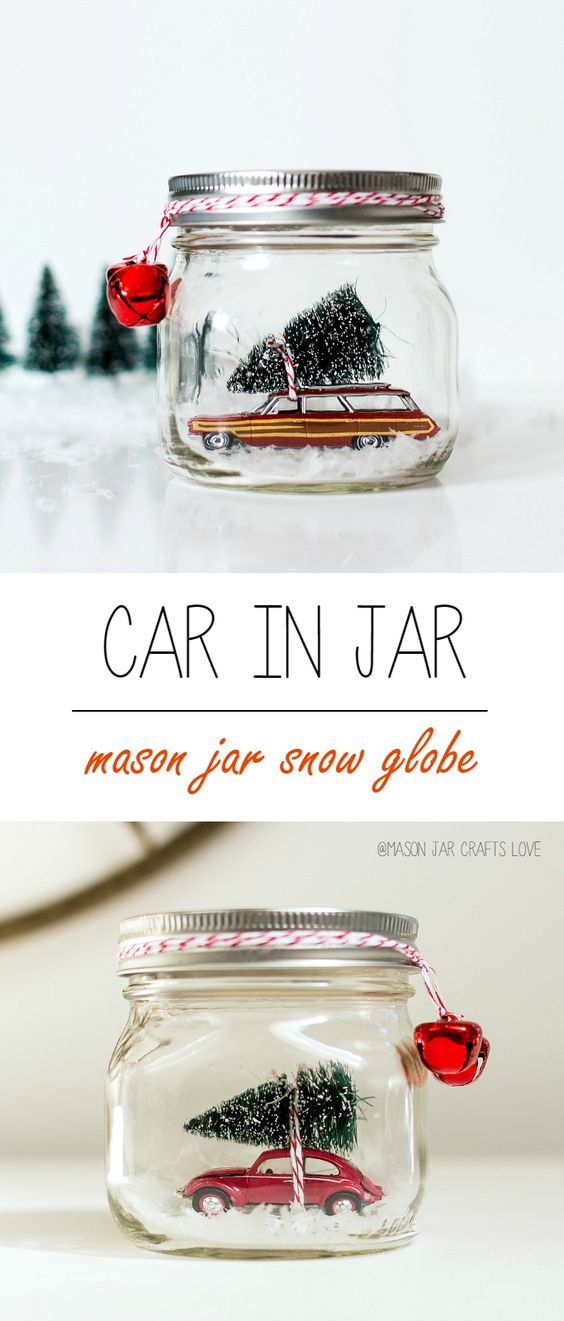 Car in a Jar Snow Globe...these are the BEST Christmas Mason Jar Ideas!