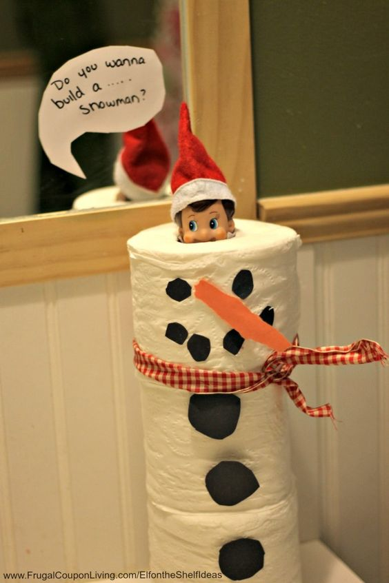 Toilet Paper Snowman Elf....These are the BEST Elf on the Shelf ideas for Christmas!