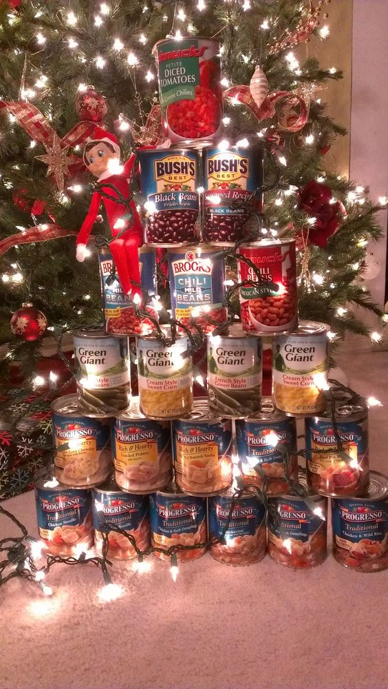 Christmas Tree made out of Canned Foods...these are the BEST Elf on the Shelf ideas for Christmas!