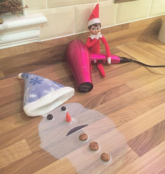 Elf Melting Frosty the Snowman...these are the BEST Elf on the Shelf ideas for Christmas!