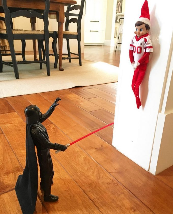 Elf caught in Darth Vadors Force...these are the BEST Elf on the Shelf Ideas!