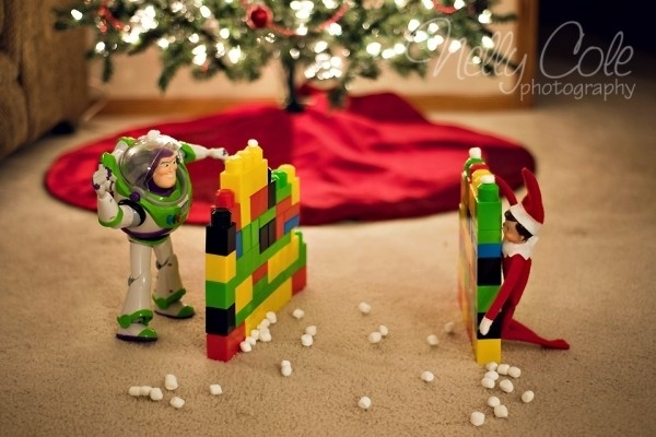 Elf on the Shelf and Buzz Lightyear Snowball Fight