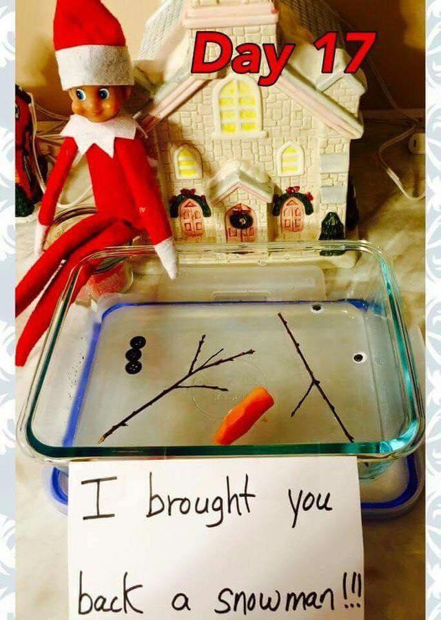 Melted Snowman Elf on the Shelf idea