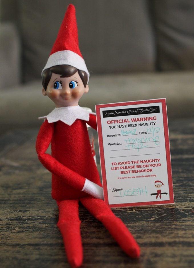 Printable Elf On The Shelf - Naughty Notice