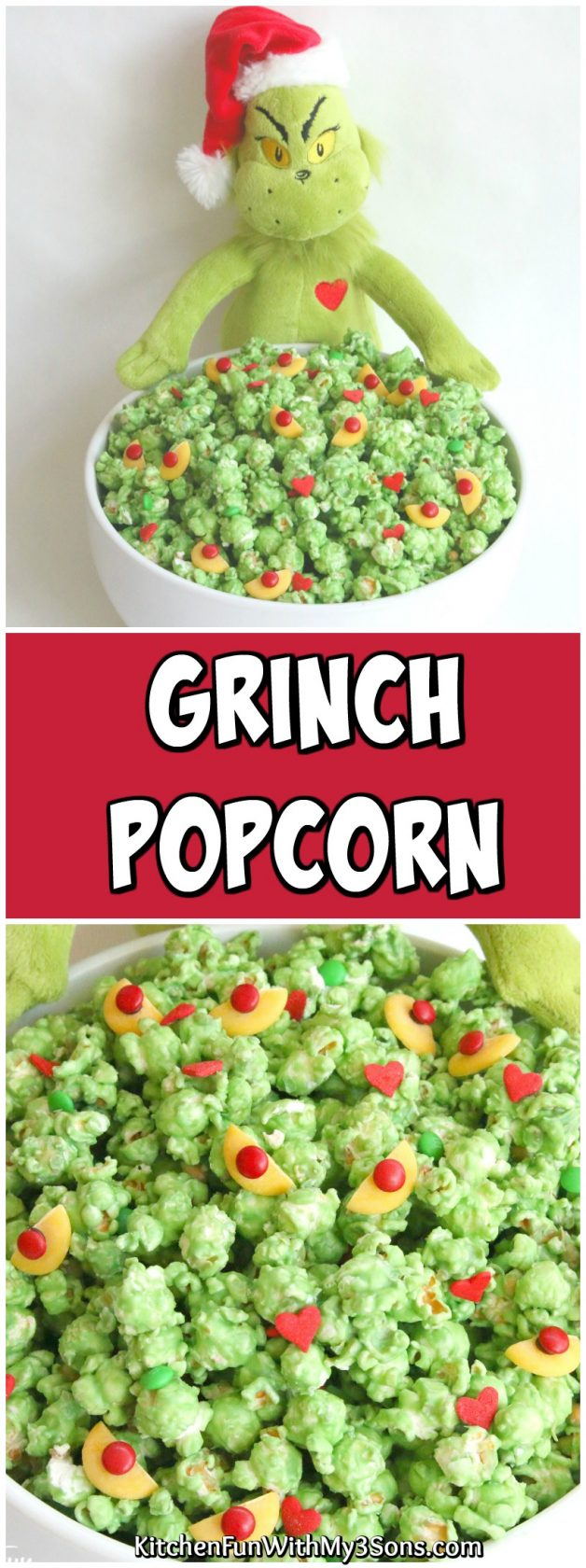 Christmas Popcorn Recipes.Grinch Popcorn Easy Christmas Treat Kitchen Fun With My