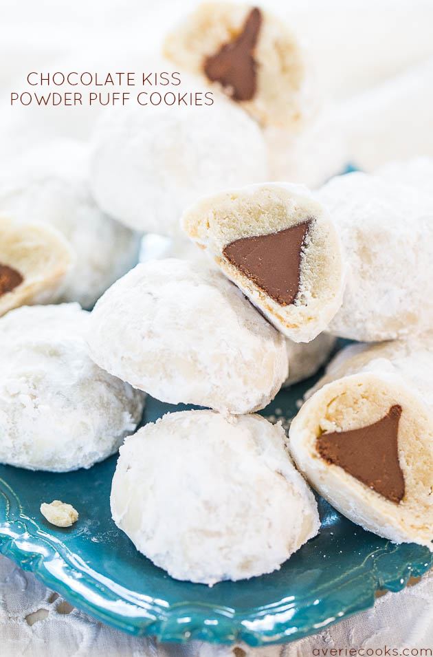 hershey kiss powder puff cookiesthese are the best christmas cookie recipes - Best Christmas Cookie Recipes Ever