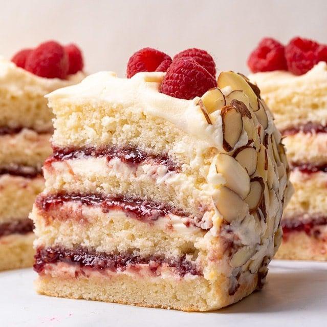 White Chocolate Raspberry Almond Cake