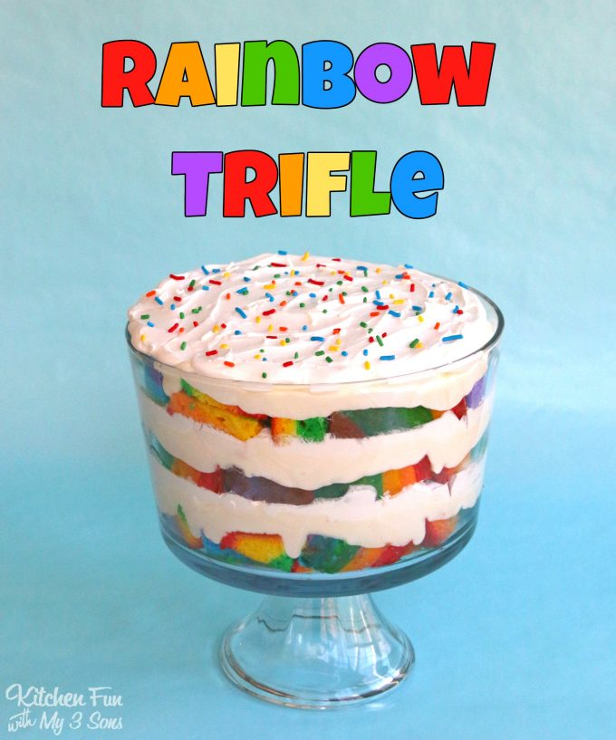 Rainbow Trifle....layered with cake, white chocolate pudding, and whipped cream!