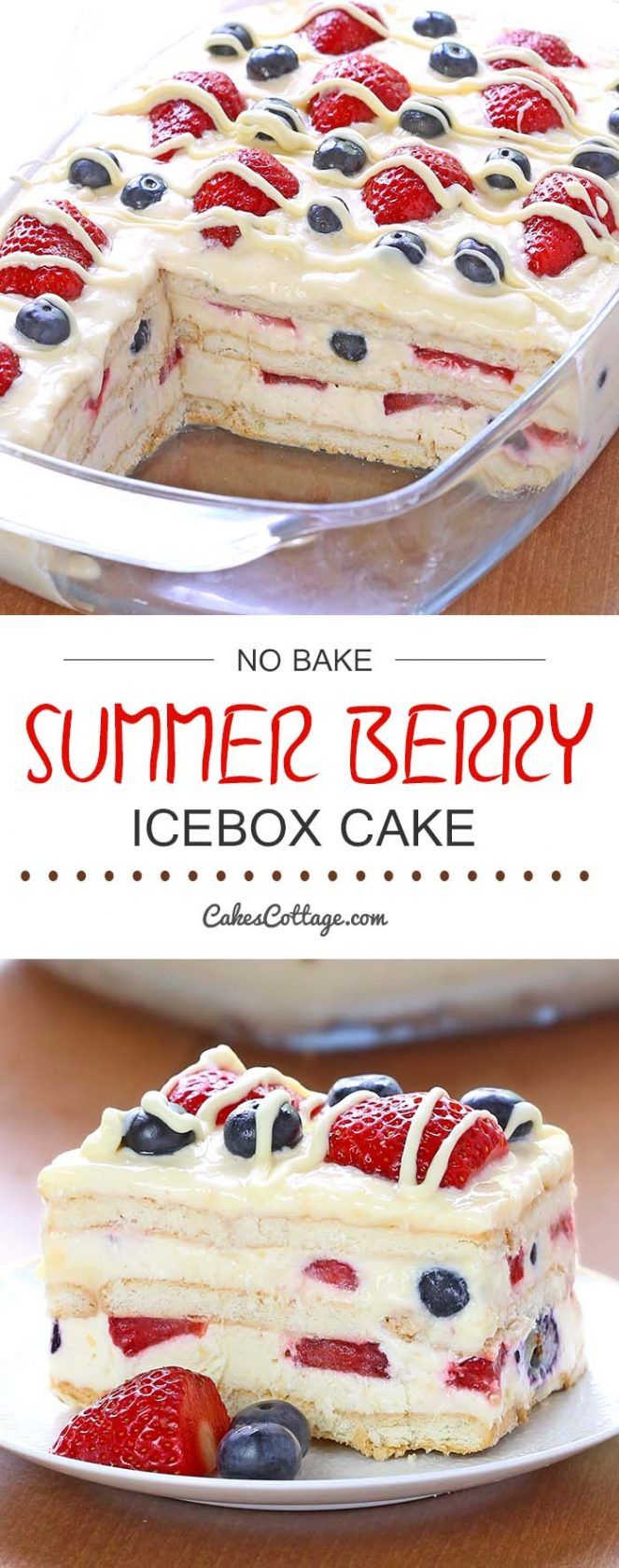 No-Bake Summer Berry Ice Box Cake...these are the BEST Cake Recipes!